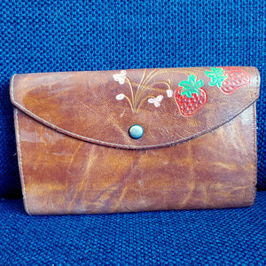 Vintage Leather Wallet with Strawberry Embossment
